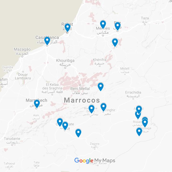 Mapa Viagem de 13 Dias - Deserto, Costa e Cidades Imperiais desde Casablanca