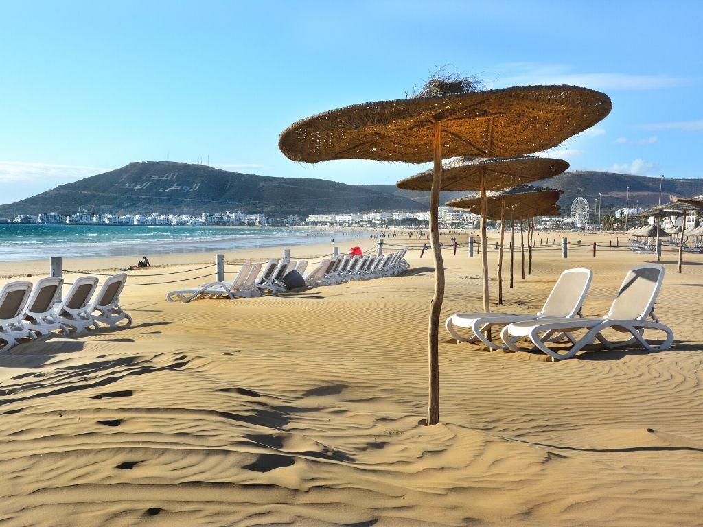 Praia em Agadir no Marrocos